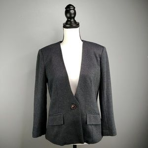 Cartonnier Ponte Knit Blazer Charcoal Grey Pockets